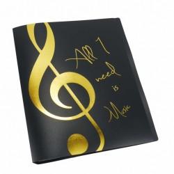 Fekete mappa,20 db lefűzhető irattartóval,arany színű felirattal+violinkulccsal A/4 méret