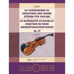 Dont, Jakob: 24 előkészítő gyakorlat Kreutzer és Rode tanulmányaihoz Op. 37