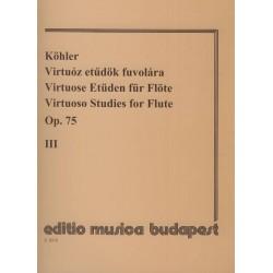 Köhler, Ernesto: Virtuóz etűdök fuvolára 3 Op. 75 Közreadta Prőhle Henrik