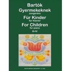 Bartók Béla: Gyermekeknek 3-4 Szlovák népdalok felhasználásával