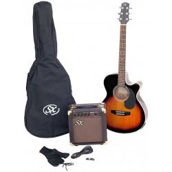 SX SA3 Electric Acoustic Kit Vintage Sunburst - 1